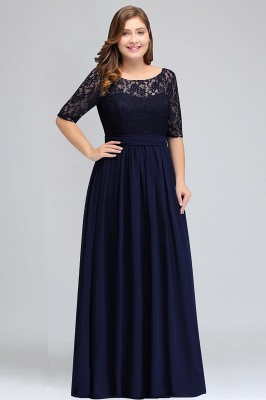 Plus Size Half Sleeves A-line Bridesmaid Dress Formal Dress for Wedding_1