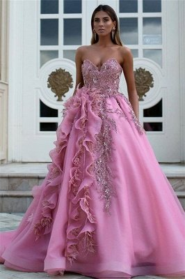 Exquisite Strapless Sweetheart Ruffles Appliques Long Evening Dress_1
