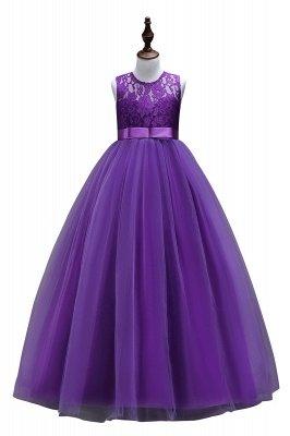 Robes élégantes dentelle Flowergirl Jewel Lace   Robes Enfants Sans Manches Arc_2