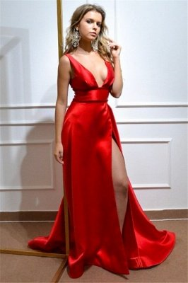 Sexy Deep-V-Neck Front-Slit Straps Red Evening Dress