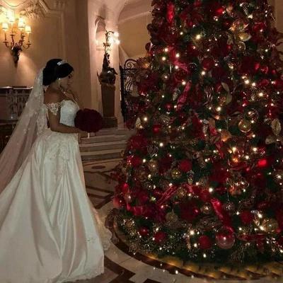 Vestido de novia largo con encaje desmontable y apliques de encaje de tul y hombros descubiertos_5
