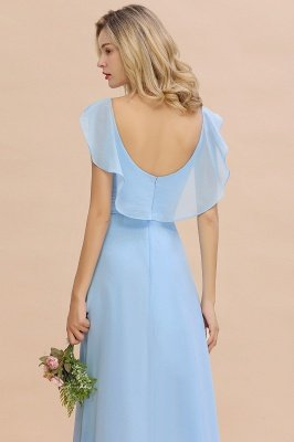 Candance | Simple Hi-Lo V-Neck Ruffles Long Cheap Bridesmaid Dress Online_8