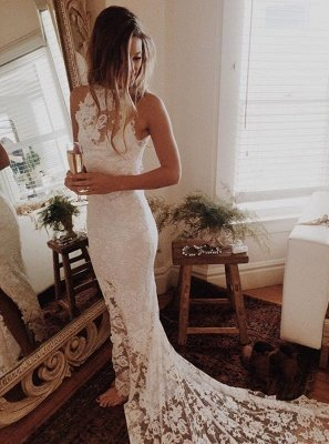 Lace Mermaid Sleeveless Halter Chapel Train Wedding Dresses_2