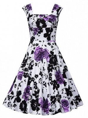 Fascinating Square A-line Knee-Length Floral Dresses | Cap-Sleeves Women's Dresses