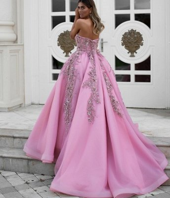 Exquisite Strapless Sweetheart Ruffles Appliques Long Evening Dress_2