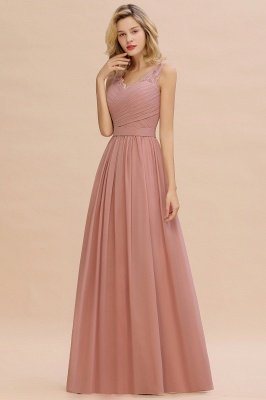 Beautiful V-neck Long Evening Dresses with soft Pleats | Sexy Sleeveless V-back Dusty Pink Womens Dress for Prom_13