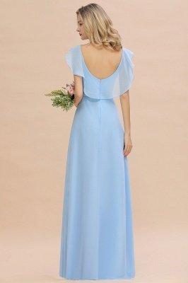 Candance | Simple Hi-Lo V-Neck Ruffles Long Bridesmaid Dress Online_3