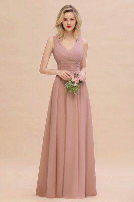 Elegant V-Neck Ruffles Bridesmaid Dress On Sale | Sexy Long Evening Dresses_2