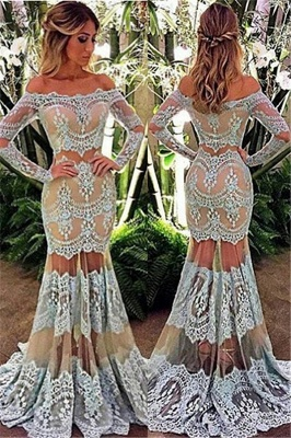 Stylish Long Sleeve Sheer Tulle Lace Evening Dress | Mermaid Off The Shoulder Sexy Prom Dresses Cheap Online