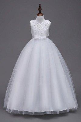 Robes élégantes dentelle Flowergirl Jewel Lace   Robes Enfants Sans Manches Arc_1