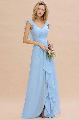 Candance | Simple Hi-Lo V-Neck Ruffles Long Cheap Bridesmaid Dress Online_4