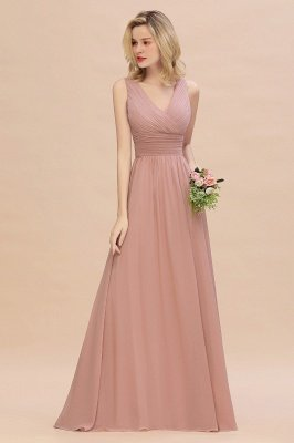Elegant V-Neck Ruffles Bridesmaid Dress On Sale | Sexy Long Evening Dresses_5