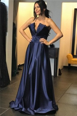 Chic Strapless V-Neck Ruffles Long Evening Dress