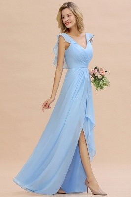 Candance | Simple Hi-Lo V-Neck Ruffles Long Bridesmaid Dress Online_1