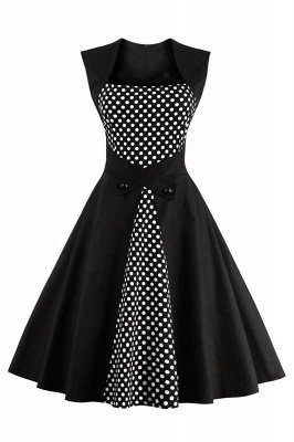 Amazing Polk-Dot Scoop Sleeveless A-Linie Falten Fashion Kleider | Knielange Damenkleider