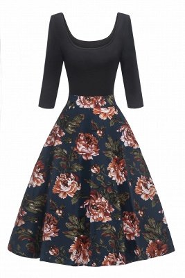 Attractive Scoop 3/4-Length-Sleeves Fashion Dresses | Floral Women's Dresses