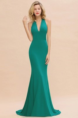 Elegant Mermaid Halter Pool Bridesmaid Dress Online_36