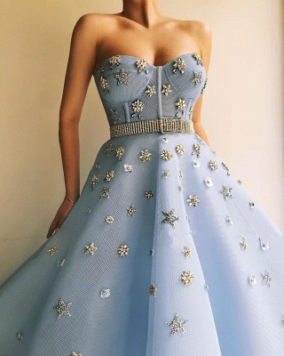 Stylish Strapless Sweetheart Beading Flowers Prom Dress | Chic Blue Tulle Long Prom Dress with Beadning Sash_3