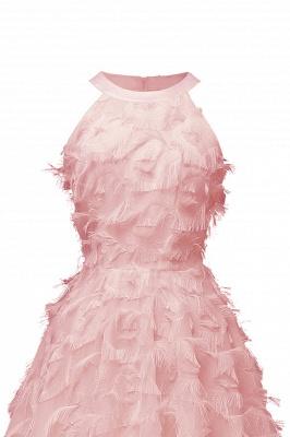 Elegant Halter Feather Princess Vintage Dresses | Retro A-line Burgundy Homecoming Dress_11