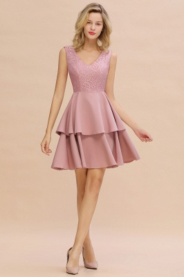 Sexy V-neck V-back Knee Length Homecoming Dresses with Ruffle Skirt | Burgundy, Navy, Pink Dress for Homecoming_14
