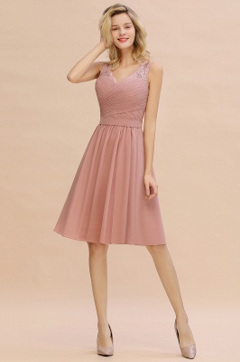 Lace V-neck Long Short Homecoming Dresses with Belt | Sexy Sleeveless V-back Pink Knee length Cocktail Dress_8