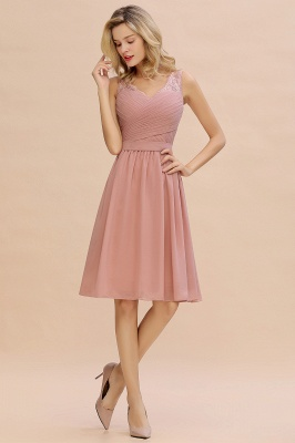 Lace V-neck Long Short Homecoming Dresses with Belt | Sexy Sleeveless V-back Pink Knee length Cocktail Dress_7