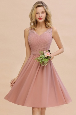 Lace V-neck Long Short Homecoming Dresses with Belt | Sexy Sleeveless V-back Pink Knee length Cocktail Dress_12