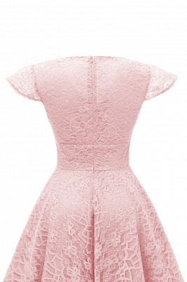 Retro Lace Cap Sleeves Dress Elegant Cocktail Party V-neck A Line Vintage Dress_11