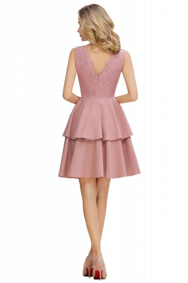 Sexy V-neck V-back Knee Length Homecoming Dresses with Ruffle Skirt | Burgundy, Navy, Pink Dress for Homecoming_9
