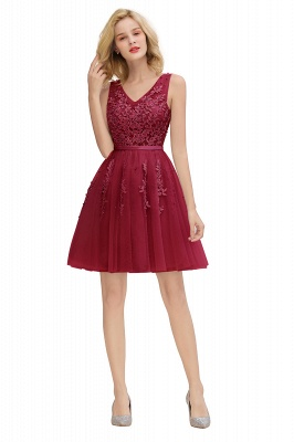 Sexy V-neck Lace-up Short Homecoming Dresses with Lace Appliques | Burgundy, Navy, Dusty pink Back to school Dress_27