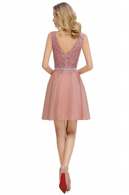 Cute Deep V-neck Short Sexy Sleeveless V-back Dusty Pink Knee length Womens Dress for Cocktail Party_14