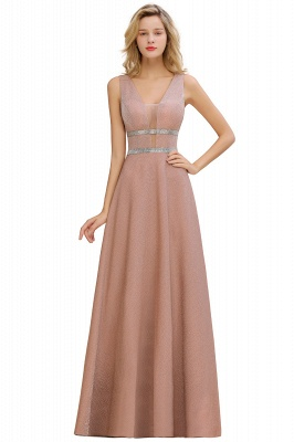Sparkly Deep V-neck Long Evening Dresses with Shining Belt | Elegant Sleeveless V-back Pink Formal Dress_5
