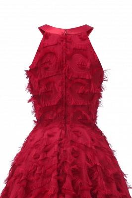 Elegant Halter Feather Princess Vintage Dresses | Retro A-line Burgundy Homecoming Dress_14