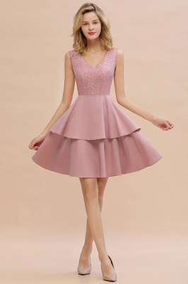 Sexy V-neck V-back Knee Length Homecoming Dresses with Ruffle Skirt | Burgundy, Navy, Pink Dress for Homecoming_1
