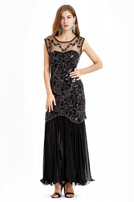 Beautiful Cap sleeves Long Black Cocktail Dresses | Shining Sequined Dress_2
