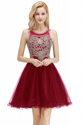 Cute Crew Neck Puffy Homecoming Dresses with Lace Appliques | Beaded Sleeveless Open back Black Teens Dress for Cocktail_1