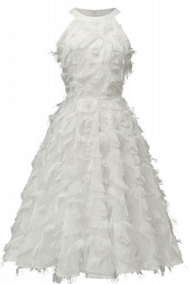 Elegant Halter Feather Princess Vintage Dresses | Retro A-line Burgundy Homecoming Dress_1