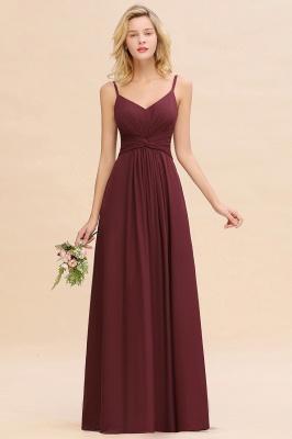 Elegantes Brautjungfer Kleid Weinrot | Schlichte Brautjungfernkleider Mit Träger Bodenlang_1