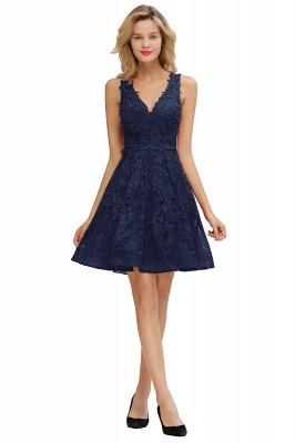 Princess V-neck Knee Length Lace Appliqued Homecoming Dresses | Burgundy Dress for Homecoming_4