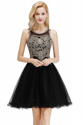 Cute Crew Neck Puffy Homecoming Dresses with Lace Appliques | Beaded Sleeveless Open back Black Teens Dress for Cocktail_11