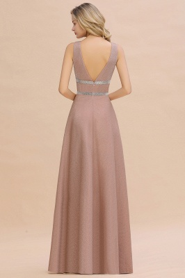 Sparkly Deep V-neck Long Evening Dresses with Shining Belt | Elegant Sleeveless V-back Pink Formal Dress_11