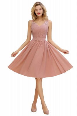 Lace V-neck Long Short Homecoming Dresses with Belt | Sexy Sleeveless V-back Pink Knee length Cocktail Dress_1