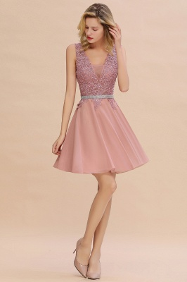 Cute Deep V-neck Short Sexy Sleeveless V-back Dusty Pink Knee length Womens Dress for Cocktail Party_8