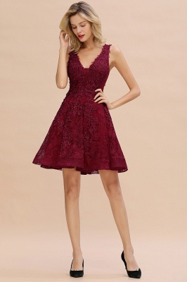 Princess V-neck Knee Length Lace Appliqued Homecoming Dresses | Burgundy Dress for Homecoming_18