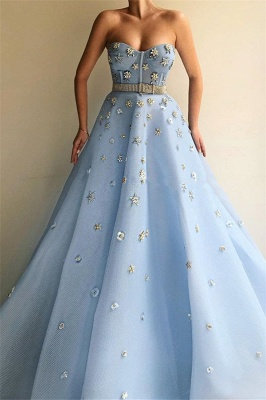 Stylish Strapless Sweetheart Beading Flowers Prom Dress | Chic Blue Tulle Long Prom Dress with Beadning Sash_1