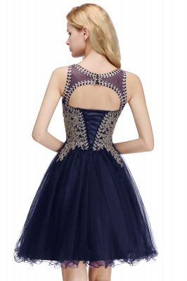 Cute Crew Neck Puffy Homecoming Dresses with Lace Appliques | Beaded Sleeveless Open back Black Teens Dress for Cocktail_24