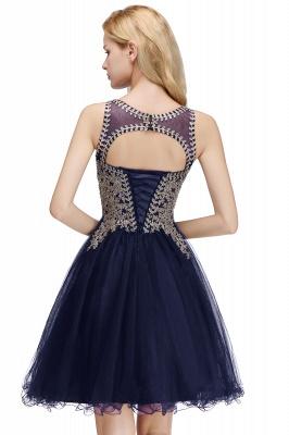 Niedlichen Rundhalsausschnitt Puffy Homecoming Kleider mit Spitzenapplikationen | Perlen ärmellose Open Back Black Teens Kleid für Cocktail_24