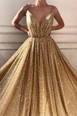 Lentejuelas glamorosas correas de espagueti vestido de fiesta largo | Vestido de fiesta dorado sin mangas con cuello en V brillante_2