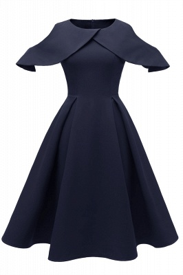 Elegantes U-Ausschnitt Halbarm 50er Jahre Kleid | Vintage Rockabilly Kleid Günstig_2