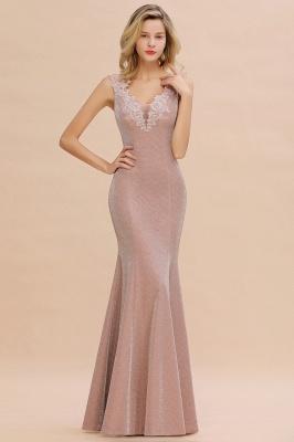 Sparkly Deep V-neck Long Evening Dresses | Elegant Flowers Neck Sleeveless Pink Floor-length Formal Dress_11